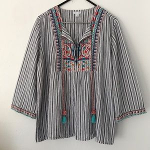 J. Jill Love Linen Embroidered Top with Tassels